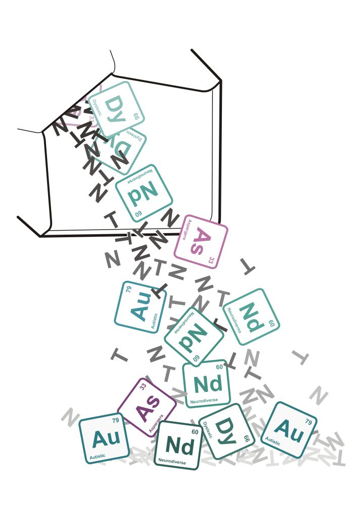 a drawing of an open envelope with scrabble letters pouring out of it