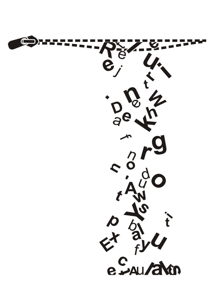 a drawing of an open zip from which a stream of black letters fall