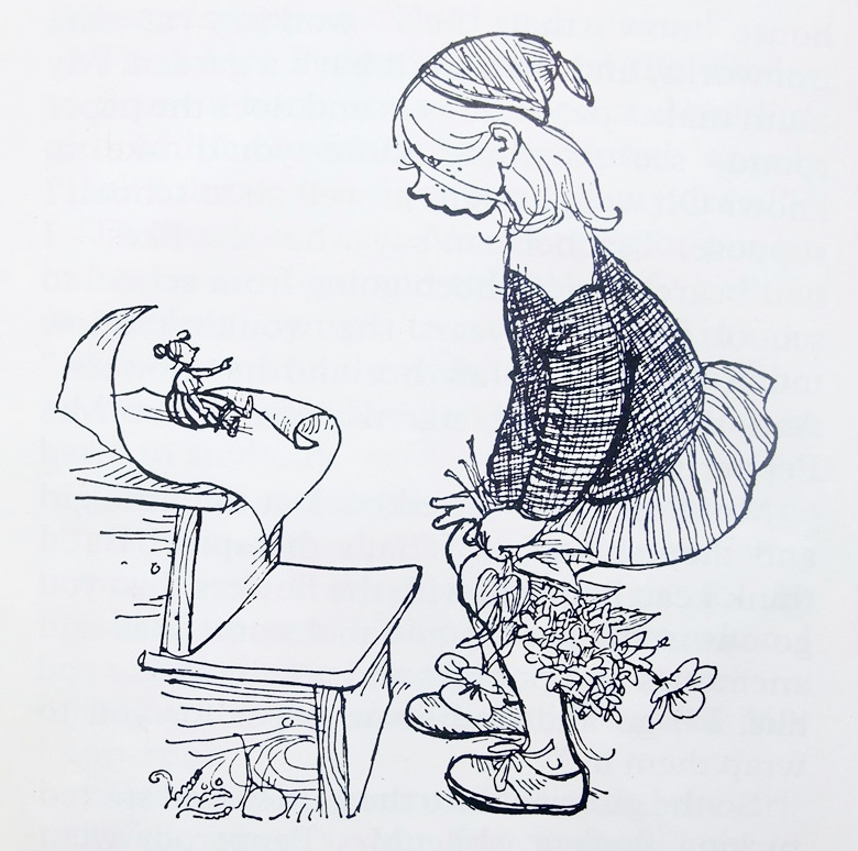drawing of a little girl with a bunch of flowers looking at a doll sized woman sitting on some steps
