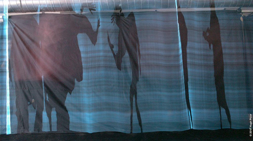 A blue, striped, floor to ceiling cloth on which distorted black shadows of people are projected