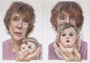 Two drawings of an older woman holding the head of a doll